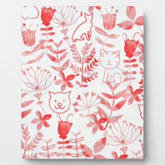 Watercolor Floral & Cats Plaques