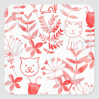 Watercolor Floral & Cats Square Sticker