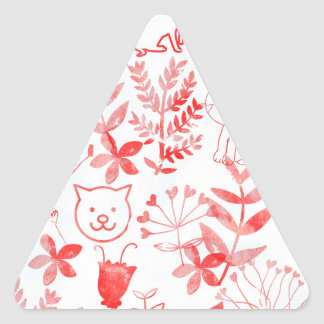 Watercolor Floral & Cats Triangle Sticker