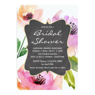 Watercolor Floral Chalkboard Bridal Shower 13 Cm X 18 Cm Invitation Card