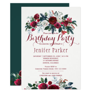 Watercolor floral chic winter birthday party card