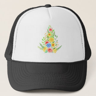 Watercolor Floral Christmas Tree Trucker Hat