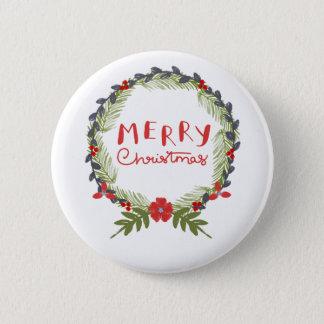 Watercolor Floral Christmas Wreath Button