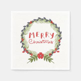 Watercolor Floral Christmas Wreath Paper Napkin
