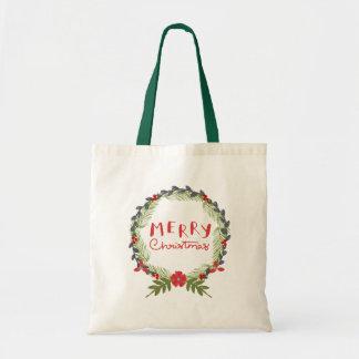 Watercolor Floral Christmas Wreath Tote Bag