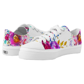 Watercolor Floral Color Splash Fun Bright Summer Low Tops