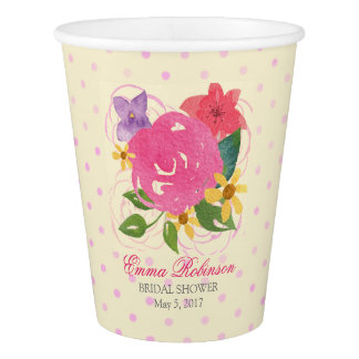 Watercolor Floral Custom Bridal Shower Cups