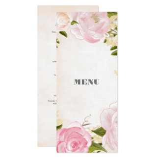 Watercolor Floral Design Custom Wedding Menu Cards
