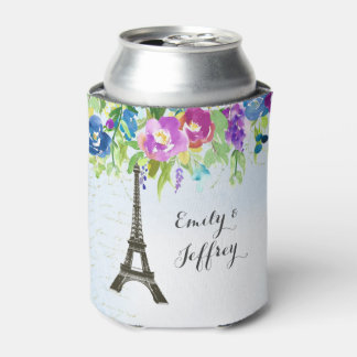 Watercolor Floral design with Paris Eiffel tower Can Cooler