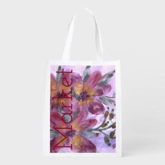 Watercolor Floral Designer Market Bag