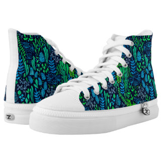Watercolor floral doodles dark background high tops