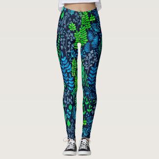 Watercolor floral doodles dark background leggings