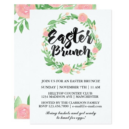 Watercolor Floral Easter Brunch Card