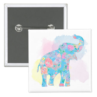 watercolor floral elephant 15 cm square badge