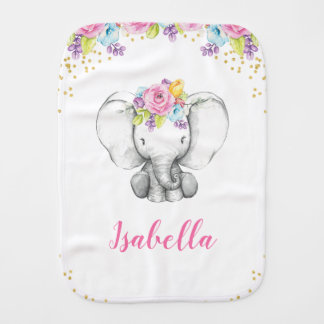 Watercolor Floral Elephant Personalized Girl Baby Burp Cloth
