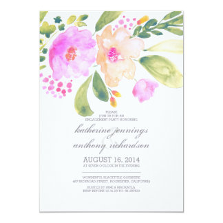 watercolor floral engagement party invites