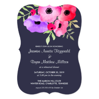 Watercolor Floral Engagement Party Navy Blue Card