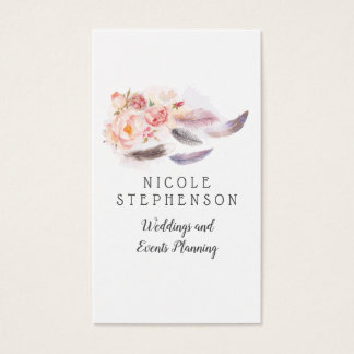 Watercolor Floral Feathers Bohemian Business Card