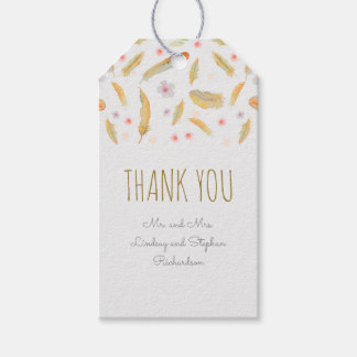 Watercolor Floral Feathers Boho Wedding Gift Tags