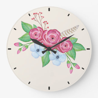Watercolor Floral Flower Bouquet Large Clock