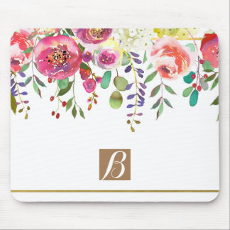 Watercolor Floral Flowers Modern Colorful Bold Mouse Pad