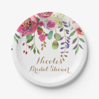 Watercolor Floral Flowers Modern Colorful Wedding Paper Plate