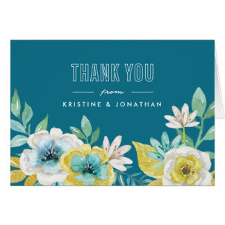 Watercolor Floral Folded Thank You Cards
