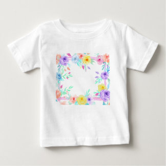 Watercolor floral frame in soft pastel colors baby T-Shirt