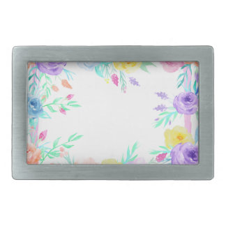 Watercolor floral frame in soft pastel colors belt buckles