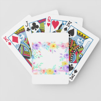 Watercolor floral frame in soft pastel colors bicycle playing cards