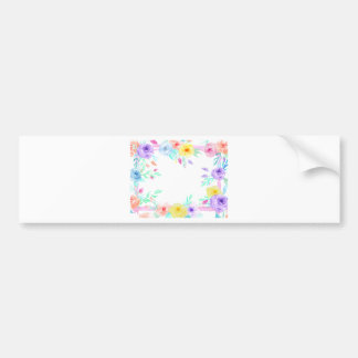 Watercolor floral frame in soft pastel colors bumper sticker