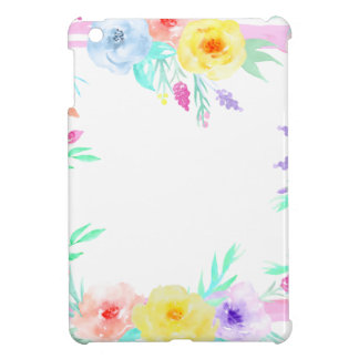 Watercolor floral frame in soft pastel colors iPad mini case