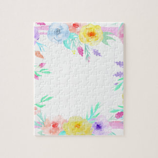 Watercolor floral frame in soft pastel colors jigsaw puzzle