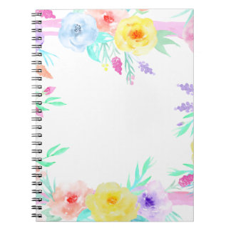Watercolor floral frame in soft pastel colors notebooks