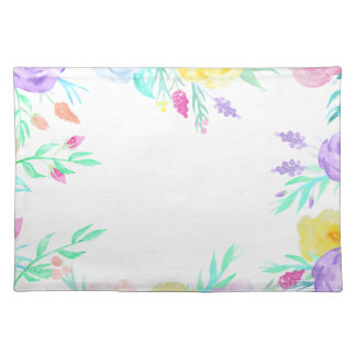 Watercolor floral frame in soft pastel colors placemat