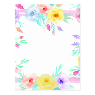 Watercolor floral frame in soft pastel colors postcard