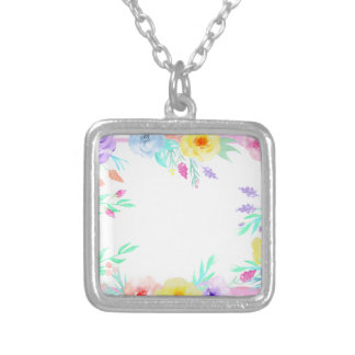 Watercolor floral frame in soft pastel colors silver plated necklace