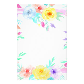 Watercolor floral frame in soft pastel colors stationery