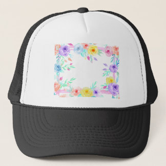 Watercolor floral frame in soft pastel colors trucker hat