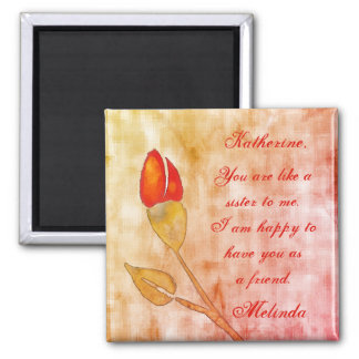 Watercolor floral friendship magnet