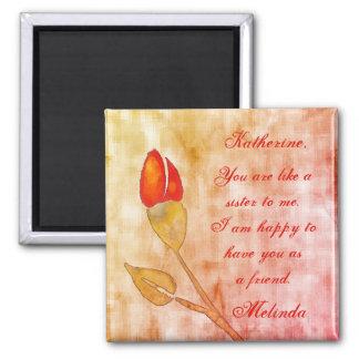 Watercolor floral friendship square magnet