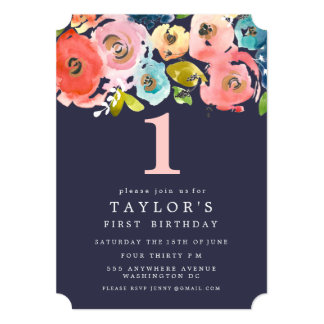 Watercolor Floral Girls 1st Birthday Invite