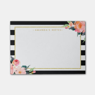 Black And White Stripes Post It Notes Sticky Notes Zazzle Au