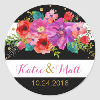 Watercolor Floral Gold Glitter Stripe Label