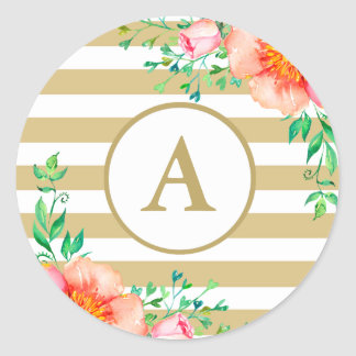 Watercolor Floral Gold Monogram Gold White Stripe Classic Round Sticker