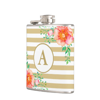 Watercolor Floral Gold Monogram Gold White Stripe Hip Flask