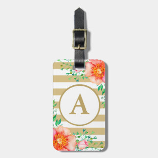 Watercolor Floral Gold Monogram Gold White Stripe Luggage Tag