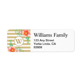 Watercolor Floral Gold Monogram Gold White Stripe Return Address Label