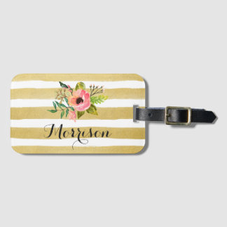 Watercolor Floral Gold White Stripes Monogram Luggage Tag