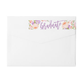 Watercolor Floral Graduation Return Address Labels